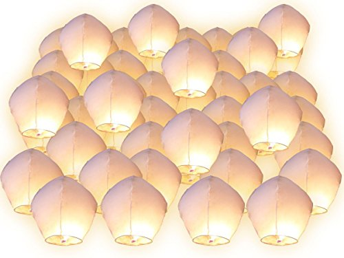 Linternas volantes Surprise fiesta boda Celeste China aniversario Extraordinaire, couleur blanc, Lot de 90(MEILLEUR VENTE)