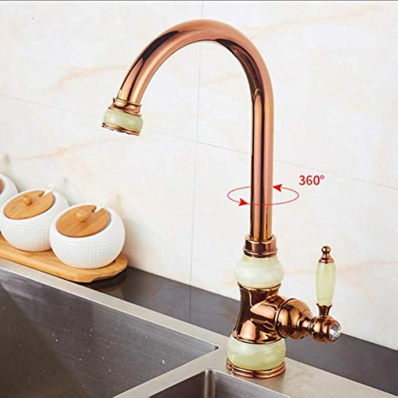 Lddpl MessingMit Jade Swivel Küchenarmatur Einzelgriff Gold-Finish-Waschtischarmaturen Armaturen 360-Grad-Waschtischarmatur