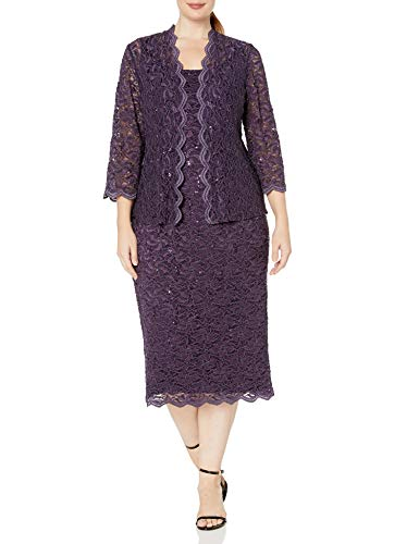 Alex Evenings womens Plus Size Tea Length Lace and Jacket Special Occasion Dress, Eggplant, 18 Plus