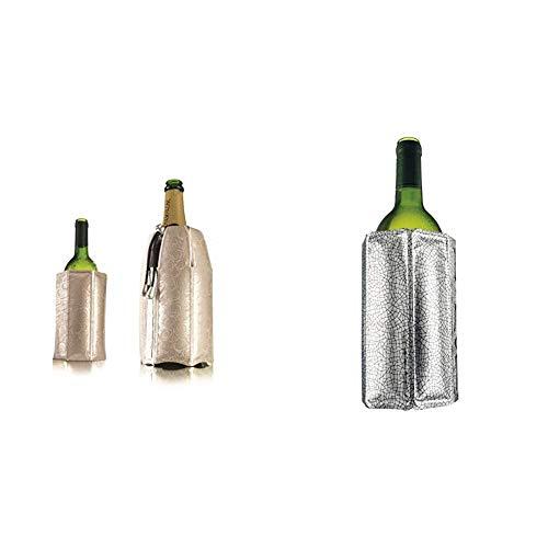 Vacu Vin 3887560 Enfriador Rápido para Botellas De Vino Y Cava, Plateado + 8714793388031 Enfriador Activo de Vino, plástico, Plata