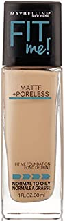 Maybelline New York Fit Me! Matte + Poreless Foundation, Classic Ivory [120] 1 oz (Pack of 2)