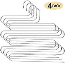 Evanee S-Shape Stainless Steel 5 Layer Clothes Hangers for Space Saving Storage for Pants Jeans Scarf Hanging Non Slip [4 Pack]