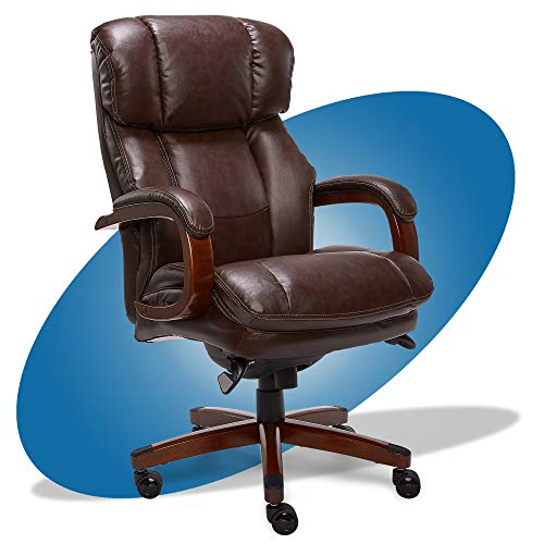 La-Z-Boy Fairmont Big and Tall Executive Office Chair with Memory Foam Cushions, High-Back with Solid Wood Arms and Base, Bonded Leather, Big & Tall, Biscuit Brown -  44940