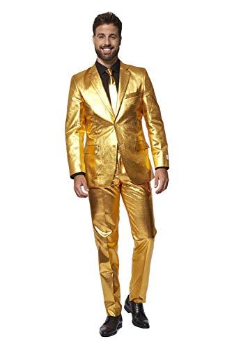 Oposuits Specials Trajes para hombre viene con chaqueta, pantalones y corbata en diseños brillantes - Dorado - 60