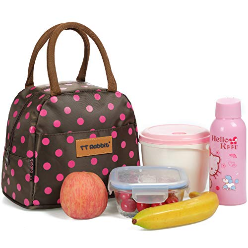 Cute Polka Dots Lunch Bag for Women Insulated Lunch Tote Bag for Working Waterproof Girls School Lunch Box (Brown)