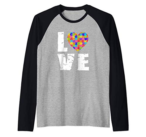 Concienciación sobre el autismo Amor Rompecabezas Corazón Camiseta Manga Raglan