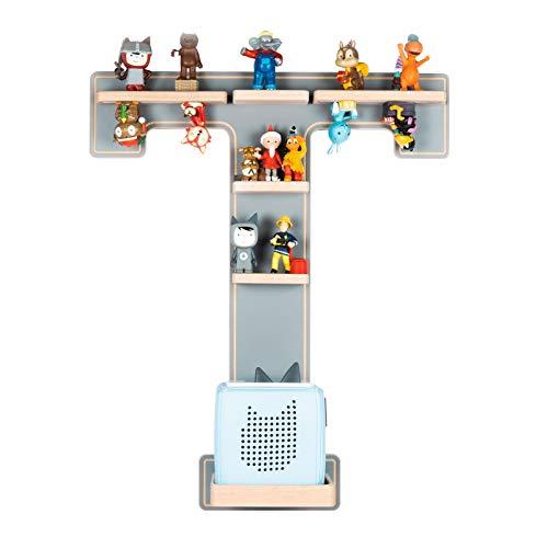 BOARTI das Original Kinder Regal Buchstabe T in Grau - geeignet für die Toniebox und ca. 32 Tonies - zum Spielen und Sammeln