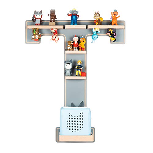BOARTI Kinder Regal Buchstabe T in Grau - geeignet für die Toniebox und ca. 32 Tonies - zum Spielen und Sammeln