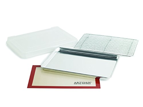 Artisan 4-Piece Professional Baking Set with Half-Size Cookie Sheet Pan, Silicone Baking Mat with...