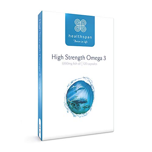 Omega 3 1,000mg | High Strength | Healthspan | As Seen on TV | 120mg DHA & 170mg EPA Per Capsule | Highly Purified to Remove Toxins | Sustainably Sourced Fish Oil (120 Capsules)
