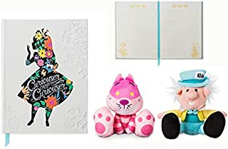 Don't Fall Done The Rabbit Hole Alice in Wonderland Store Exclusive Diary/ Notebook W/ Cheshire Cat and The Mad Hatter Tiny Big Feet Plushes Bundle Record Why... We're All Mad Here!