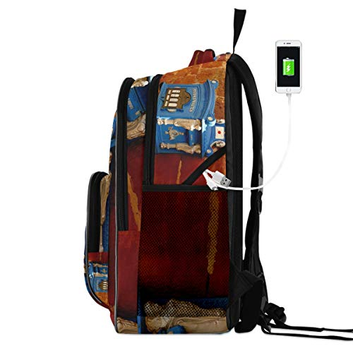 FANTAZIO blauwe brievenbus op muur reizen laptop rugzak, school computer tas met USB opladen poort, past 15.6 inch notebook