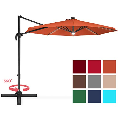 Best Choice Products 10ft Solar LED 360 Degree Rotating Cantilever Offset Patio Umbrella w/Easy Tilt - Orange