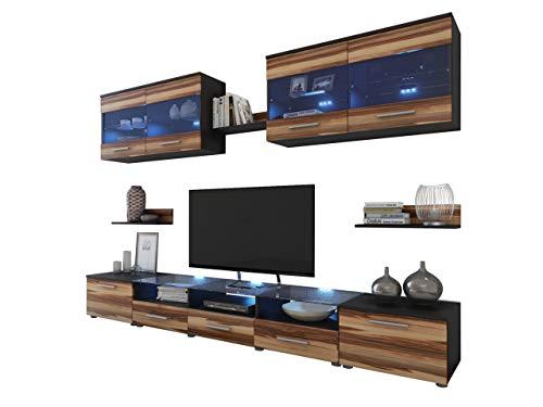 Wohnwand Cama I, Design Mediawand, Anbauwand, Vitrine, 2X TV Lowboard, Wandregal, Modernes Wohnzimmer Set (Wenge/Nuss Baltimore, mit weißer LED Beleuchtung)