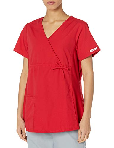 Product Image of the CHEROKEE Women's Maternity Mock Wrap Scrubs Shirt, Red, Medium