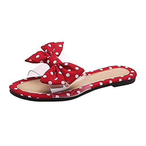 Beudylihy Sandalias de verano para mujer, sandalias con plantilla y cordones, para verano, zapatos planos, zapatos de playa abiertos, zapatillas de estar por casa, cómodas para mujer, rojo, 36 EU