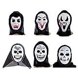 PRETYZOOM Máscara de Miedo Máscara de Mueca Máscara de Calavera Máscara de Fantasma de Miedo Aleatoria Realista para Cosplay Fiesta de Halloween Estilo Aleatorio 6 Piezas