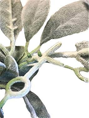 Quadow Artificial Lamb's Ear Greenery Garland, 6 Ft Long Artificial Lambs Ear Garlands Room Decor Green Leaves Vines Garl