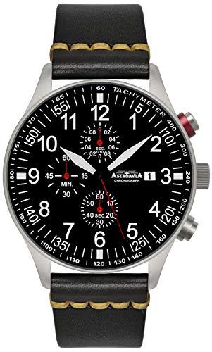 Astroavia N57L8 - Reloj de pulsera para hombre, cronógrafo, cuarzo, correa de piel