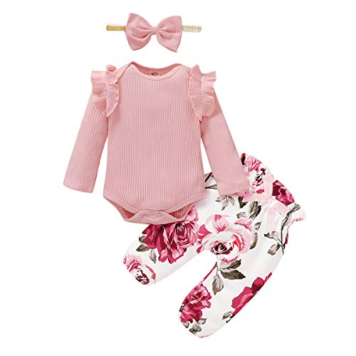 veikimous Newborn Baby Girls Clothes Floral Romper + Floral Long Pant + Floral Headband 3pcs Outfit for 3-6 Months