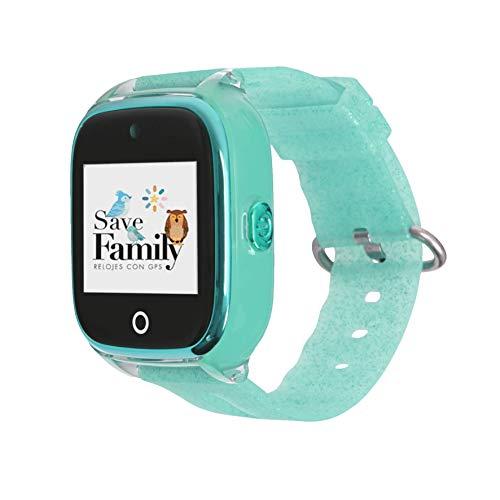 Reloj con GPS para niños SaveFamily Modelo Superior acuático con cámara Verde Glitter. Smartwatch con botón SOS, Permite Llamadas y Mensajes. Resistente al Agua Ip67. App Propia SaveFamily.