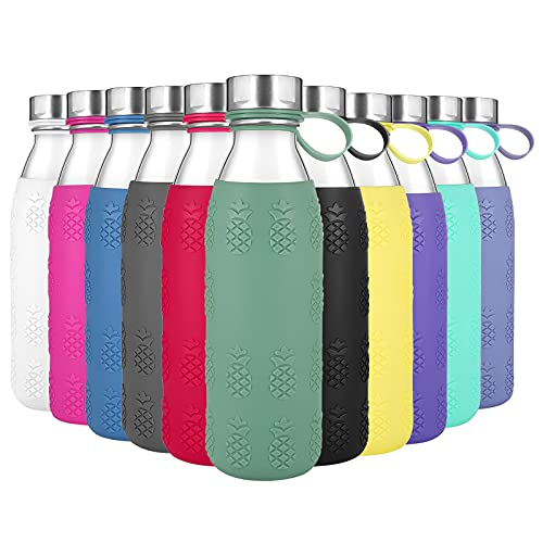 Zenbo 20 Oz Borosilicate Glass Water Bottle with Silicone Sleeve Reusable Glass bottles with Lids/Caps