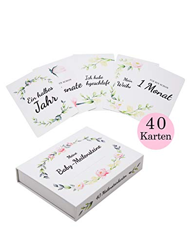 Amae | Baby Meilensteinkarten | 40 Karten | Geschenk zur Geburt, Babyparty & Schwangerschaft | Geschenkset mit Fotokarten für Kinder | Milestone-Cards | Geschenkbox für Mädchen & Junge (Rosa)