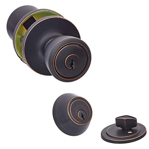 AmazonBasics Exterior Door Knob With Lock and Deadbolt, Bell, Oil Rubbed Bronze