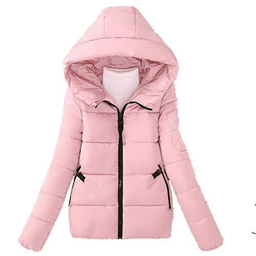 N\P Abrigo de mujer de algodón acolchado corto invierno con capucha gruesa