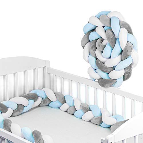 Bettschlange Baby geflochten Bettumrandung - Bettrolle für Babybett nestchen schlange Nestchenschlange Weiß/Grau/Hellblau Zopf drei Stränge 150 cm