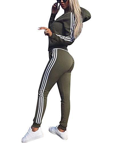 Yesgirl Femmes 2 Pièce Survêtement Ensemble Sportswear Hoodie Sweats Longues Zipper Top + Pantalon Joggers Combishorts De Sport Combinaisons Yoga Sport Combinaison A Armée Verte 36