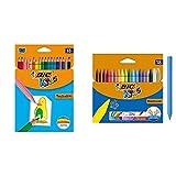 BIC Kids Tropicolors - Blíster de 18 unidades, lápices de surtidos + Plastidecor - Blíster de 18 unidades, ceras para colorear, surtidos