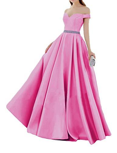 HUINI Elegant Abendkleider Satin Herzausschnitt Brautkleider Lang Ballkleider Schulterfrei Hochzeitskleider Quinceanera Kleider Dunkelrosa 32