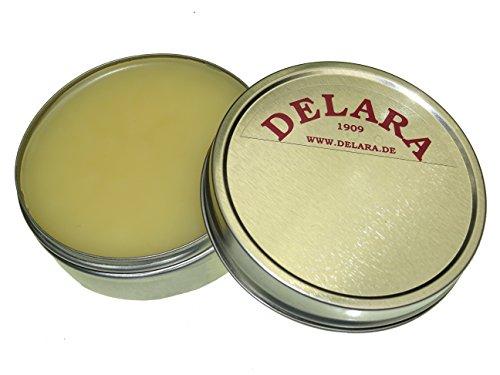 DELARA Hochwertiges, farbloses Lederfett, 75 ml, mit kleinem, 4-teiligem Bürstenset und einem Poliertuch - Made in Germany