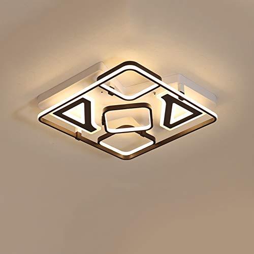 Plafondlamp, 65 W, LED, afstandsbediening, dimbaar, modern, creatief, vierkant, plafondlamp, binnenverlichting, plafond, slaapkamer, woonkamer, keuken, licht L40 × B40 × H13 cm, wit + zwart