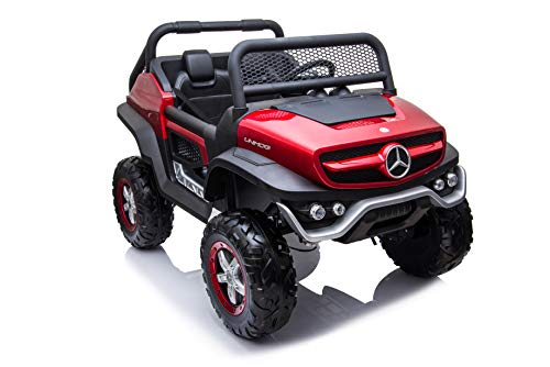 Dakott Mercedes Benz 4x4 Off-Road Electric ATV Unimog Kids Ride On Car with Remote Control, 2 Seaters, 4 Motors, Openeable Doors, Suspension System, Music Player, Red, Large (MB1003)