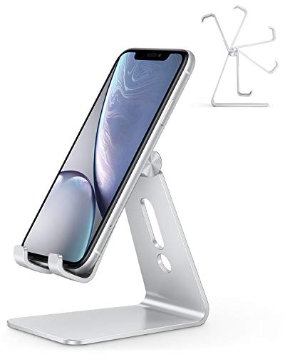 Adjustable Cell Phone Stand, OMOTON C2 Aluminum Desktop Phone Holder Dock Compatible with iPhone 11 Pro, SE, XR, 8 Plus 7 6, Samsung Galaxy, Google Pixel and More, Sliver