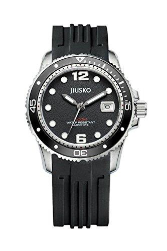 Jiusko Armbanduhren für Herren Uhren Tiefsee 300M,Wasserdicht Miyota 2115 Quarz Laufwerk Saphirglas Silikon Band in Ocean Schwarz Black Taucher Uhr 38 mm Durchmesser Datumsanzege.