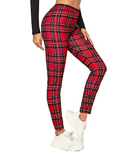 DIDK - Leggings de mujer con diseño de cuadros ecosis, cintura elástica, pantalones largos, estilo casual, leggings de deporte rojo M
