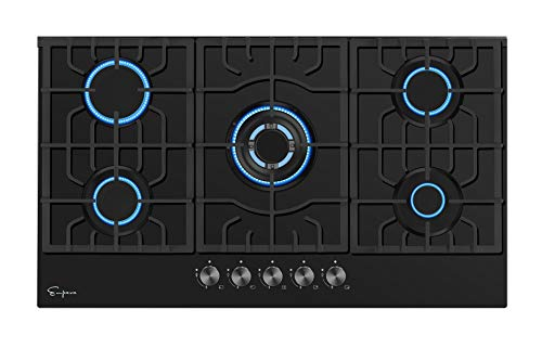 Empava 30 Inch Gas Cooktop with 5 Italy Sabaf Sealed Burners NG/LPG Convertible Tempered Glass in Black Model 2020
