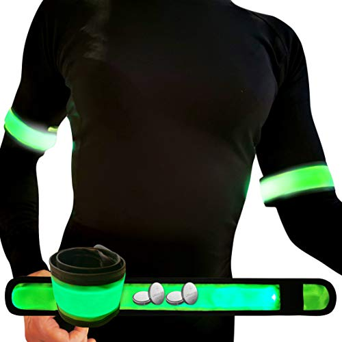 AVANTO Running Led Armband with Extra Batteries, High Visibility Safety Lights 2-Pack, Reflective Arm Bands for Runners, Slap Bands, Running Lights for Runners, Reflective Gear for Walkers (Green)