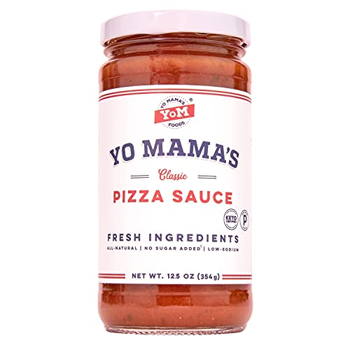 Keto Classic Pizza Sauce by Yo Mama's Foods – Pack of (1) - No Sugar Added, Low Carb, Vegan, Gluten Free, Paleo Friendly, and Made with Fresh Non-GMO Tomatoes!