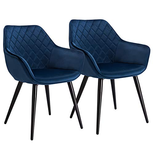 WOLTU Esszimmerstühle BH153bl-2 2er Set Küchenstühle Wohnzimmerstuhl Polsterstuhl Design Stuhl mit Armlehne Samt Gestell aus Stahl Blau