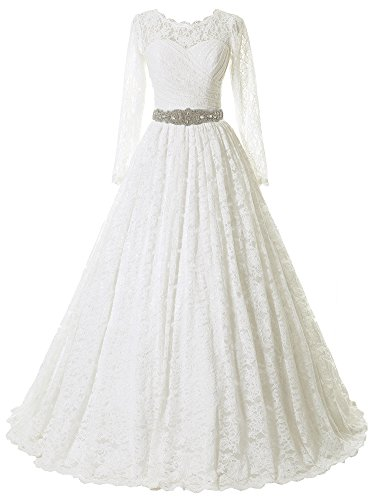 SOLOVEDRESS Women's Ball Gown Lace Princess Long Sleeves Wedding Dress Sash Beaded Bridal Gown (Customized Size,Ivory) (Apparel)