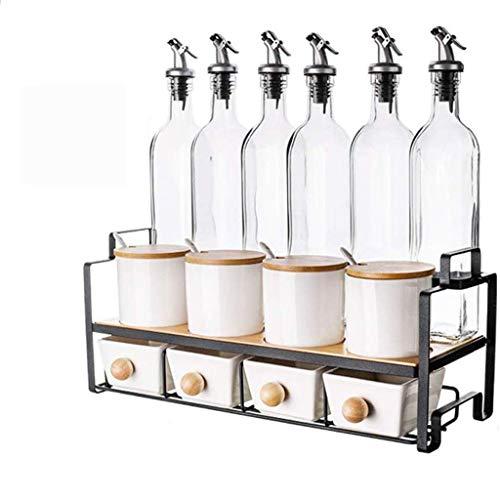 LXM Botella de cerámica para condimentos, para cocina, hogar, frasco de condimentos, hierro forjado y bambú y cristal salero (color: -, tamaño: -)