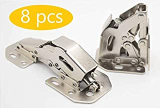 Kitchen Cabinet Door Hinges Cupboard Drawer Hinges Easy Close No Drilling No Slam Hidden (4 Inch) Quick Installation Buffer No Slot 8 Pack by JUNHOO