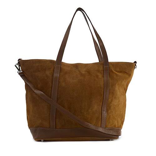 OH MY BAG Sac porté épaule Cuir porté épaule main bandoulière et de travers femmes en véritable cuir fabriqué en Italie - modèle IRUPU Marron cognac