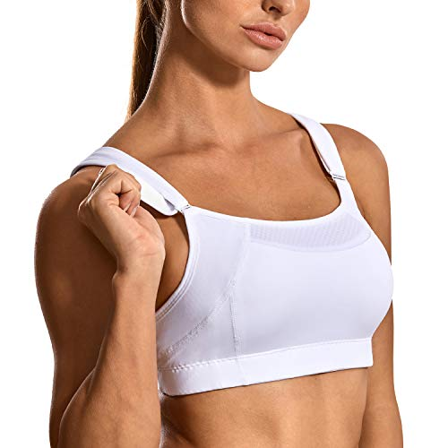 SYROKAN Women's Bounce Control Wirefree Front Adjustable High Impact Maximum Support Sports Bras White 34C