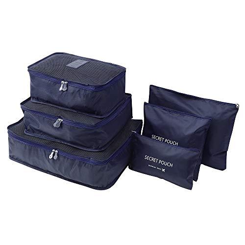 YJYdada 6-Teiliges Reise-Set für Kleidung und Wäsche, geheime Aufbewahrungstasche für Gepäck dunkelgrün