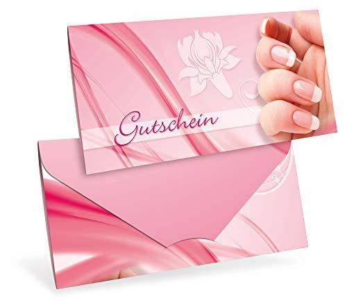 Verschiedene Motive - Gutscheinkarten - Geschenkgutscheine für Nageldesign, Nagelstudio, Kosmetik - DIN lang Faltkarte verschließbar, blanko Vordruck zum Eintragen der Werte (10 Stück)
